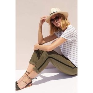 Anthropologie relaxed striped green chino pants